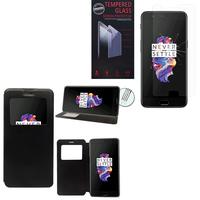 """OnePlus 5 A5000 5.5"""": Etui View Case Flip Folio Leather cover - NOIR + 1 Film de protection d'écran Verre Trempé"""