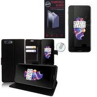 """OnePlus 5 A5000 5.5"""": Etui Coque Housse Pochette Accessoires portefeuille support video cuir PU - NOIR + 1 Film de protection d'écran Verre Trempé"""