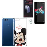 """Huawei Honor 7X 5.93"""" BND-L21/ L22/ L24/ AL10/ TL10: Coque Housse silicone TPU Transparente Ultra-Fine Dessin animé jolie - Mickey Mouse + 1 Film de protection d'écran Verre Trempé"""