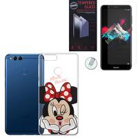 """Huawei Honor 7X 5.93"""" BND-L21/ L22/ L24/ AL10/ TL10: Coque Housse silicone TPU Transparente Ultra-Fine Dessin animé jolie - Minnie Mouse + 1 Film de protection d'écran Verre Trempé"""