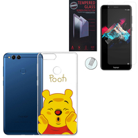 "Huawei Honor 7X 5.93"" BND-L21/ L22/ L24/ AL10/ TL10: Coque Housse silicone TPU Transparente Ultra-Fine Dessin animé jolie - Winnie the Pooh + 1 Film de protection d'écran Verre Trempé"