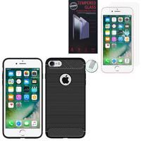"""Apple iPhone 7 4.7"""" (non compatible iPhone 7 Plus 5.5''): Coque Housse Silicone Souple en Fibre de Carbone Brossé motif TPU Case - NOIR + 1 Film de protection d'écran Verre Trempé"""