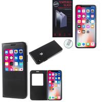 """Apple Iphone X 5.8""""/ iPhone 10/ iPhone Ten: Etui View Case Flip Folio Leather cover - NOIR + 1 Film de protection d'écran Verre Trempé"""