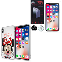 "Apple Iphone X 5.8""/ iPhone 10/ iPhone Ten: Coque Housse silicone TPU Transparente Ultra-Fine Dessin animé jolie - Minnie Mouse + 1 Film de protection d'écran Verre Trempé"