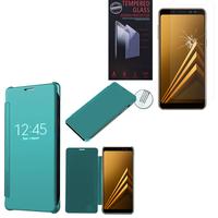 "Samsung Galaxy A8 (2018) A530F 5.6""/ A8 (2018) Duos A530F/DS: Coque Silicone gel rigide Livre rabat - BLEU + 1 Film de protection d'écran Verre Trempé"