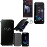 Samsung Galaxy J3 (2017) J330F/DS/ J330G/DS/ J3 Pro (2017) (non compatible Galaxy J3 2016/ 2015): Coque Silicone gel rigide Livre rabat - NOIR + 1 Film de protection d'écran Verre Trempé