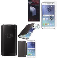 Samsung Galaxy J5 SM-J500F/ J500FN (non compatible Galaxy J5 (2016)): Coque Silicone gel rigide Livre rabat - NOIR + 1 Film de protection d'écran Verre Trempé