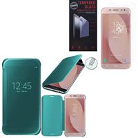 Samsung Galaxy J7 (2017) SM-J730F/DS/ J7 (2017) Duos J730F/DS: Coque Silicone gel rigide Livre rabat - BLEU + 1 Film de protection d'écran Verre Trempé