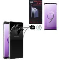 """Samsung Galaxy S9+/ S9 Plus 6.2"""": Etui Housse Pochette Accessoires Coque gel UltraSlim - TRANSPARENT + 1 Film de protection d'écran Verre Trempé"""