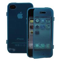 Apple iPhone 4/ 4S/ 4G: Accessoire Coque Etui Housse Pochette silicone gel Portefeuille Livre rabat - BLEU