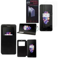 """OnePlus 5 A5000 5.5"""": Etui View Case Flip Folio Leather cover - NOIR + 2 Films de protection d'écran Verre Trempé"""