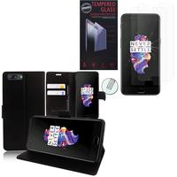 """OnePlus 5 A5000 5.5"""": Etui Coque Housse Pochette Accessoires portefeuille support video cuir PU - NOIR + 2 Films de protection d'écran Verre Trempé"""