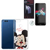 """Huawei Honor 7X 5.93"""" BND-L21/ L22/ L24/ AL10/ TL10: Coque Housse silicone TPU Transparente Ultra-Fine Dessin animé jolie - Mickey Mouse + 2 Films de protection d'écran Verre Trempé"""