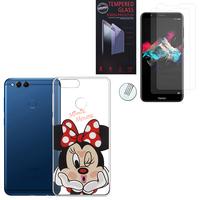 """Huawei Honor 7X 5.93"""" BND-L21/ L22/ L24/ AL10/ TL10: Coque Housse silicone TPU Transparente Ultra-Fine Dessin animé jolie - Minnie Mouse + 2 Films de protection d'écran Verre Trempé"""
