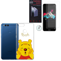 "Huawei Honor 7X 5.93"" BND-L21/ L22/ L24/ AL10/ TL10: Coque Housse silicone TPU Transparente Ultra-Fine Dessin animé jolie - Winnie the Pooh + 2 Films de protection d'écran Verre Trempé"