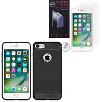 """Apple iPhone 7 4.7"""" (non compatible iPhone 7 Plus 5.5''): Coque Housse Silicone Souple en Fibre de Carbone Brossé motif TPU Case - NOIR + 2 Films de protection d'écran Verre Trempé"""
