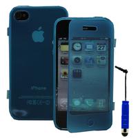 Apple iPhone 4/ 4S/ 4G: Accessoire Coque Etui Housse Pochette silicone gel Portefeuille Livre rabat + mini Stylet - BLEU