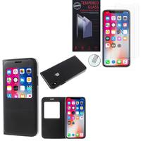 """Apple Iphone X 5.8""""/ iPhone 10/ iPhone Ten: Etui View Case Flip Folio Leather cover - NOIR + 2 Films de protection d'écran Verre Trempé"""