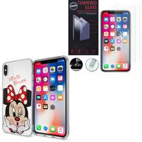 """Apple Iphone X 5.8""""/ iPhone 10/ iPhone Ten: Coque Housse silicone TPU Transparente Ultra-Fine Dessin animé jolie - Minnie Mouse + 2 Films de protection d'écran Verre Trempé"""