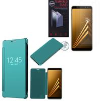 "Samsung Galaxy A8 (2018) A530F 5.6""/ A8 (2018) Duos A530F/DS: Coque Silicone gel rigide Livre rabat - BLEU + 2 Films de protection d'écran Verre Trempé"