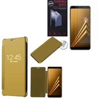 "Samsung Galaxy A8 (2018) A530F 5.6""/ A8 (2018) Duos A530F/DS: Coque Silicone gel rigide Livre rabat - JAUNE + 2 Films de protection d'écran Verre Trempé"