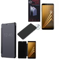 """Samsung Galaxy A8 (2018) A530F 5.6""""/ A8 (2018) Duos A530F/DS: Coque Silicone gel rigide Livre rabat - NOIR + 2 Films de protection d'écran Verre Trempé"""