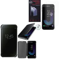 Samsung Galaxy J3 (2017) J330F/DS/ J330G/DS/ J3 Pro (2017) (non compatible Galaxy J3 2016/ 2015): Coque Silicone gel rigide Livre rabat - NOIR + 2 Films de protection d'écran Verre Trempé