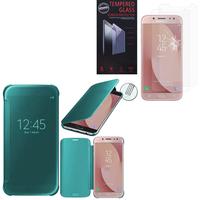 Samsung Galaxy J7 (2017) SM-J730F/DS/ J7 (2017) Duos J730F/DS: Coque Silicone gel rigide Livre rabat - BLEU + 2 Films de protection d'écran Verre Trempé