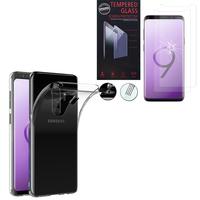 """Samsung Galaxy S9+/ S9 Plus 6.2"""": Etui Housse Pochette Accessoires Coque gel UltraSlim - TRANSPARENT + 2 Films de protection d'écran Verre Trempé"""