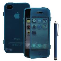 Apple iPhone 4/ 4S/ 4G: Accessoire Coque Etui Housse Pochette silicone gel Portefeuille Livre rabat + Stylet - BLEU
