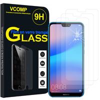 """Huawei P20 Lite/ Nova 3e 5.84"""" (non compatible Huawei P20/ P20 Pro): Lot / Pack de 3 Films de protection d'écran Verre Trempé"""