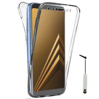 "Samsung Galaxy A8 (2018) A530F 5.6""/ A8 (2018) Duos A530F/DS: Coque Housse Silicone Gel TRANSPARENTE ultra mince 360° protection intégrale Avant et Arrière + mini Stylet - TRANSPARENT"