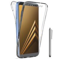 "Samsung Galaxy A8 (2018) A530F 5.6""/ A8 (2018) Duos A530F/DS: Coque Housse Silicone Gel TRANSPARENTE ultra mince 360° protection intégrale Avant et Arrière + Stylet - TRANSPARENT"