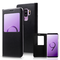 "Samsung Galaxy S9+/ S9 Plus 6.2"": Etui View Case Flip Folio Leather cover - NOIR"