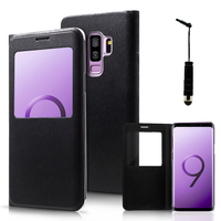 "Samsung Galaxy S9+/ S9 Plus 6.2"": Etui View Case Flip Folio Leather cover + mini Stylet - NOIR"