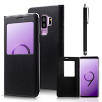 "Samsung Galaxy S9+/ S9 Plus 6.2"": Etui View Case Flip Folio Leather cover + Stylet - NOIR"