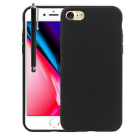 """Apple iPhone 8 4.7"""": Coque TPU silicone mat souple ultra-fine dos couverture + Stylet - NOIR"""