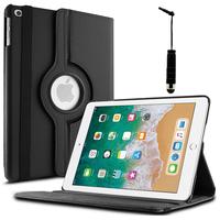 Apple iPad 9.7 (2018): Accessoire Etui Housse Coque avec support Et Rotative Rotation 360° en cuir PU + mini Stylet - NOIR