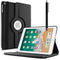 Apple iPad 9.7 (2018): Accessoire Etui Housse Coque avec support Et Rotative Rotation 360° en cuir PU + Stylet - NOIR
