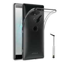"""Sony Xperia XZ2 5.7"""" H8216 H8266 H8296 (Sony PF22) (non compatible Xperia XZ2 Compact 5.0""""): Accessoire Housse Etui Coque gel UltraSlim et Ajustement parfait + mini Stylet - TRANSPARENT"""