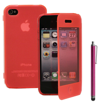 Apple iPhone 4/ 4S/ 4G: Accessoire Coque Etui Housse Pochette silicone gel Portefeuille Livre rabat + Stylet - ROSE