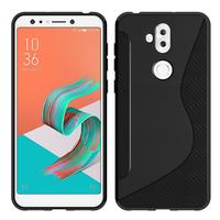 """Asus Zenfone 5 Lite ZC600KL 6.0"""" (2018): Accessoire Housse Etui Pochette Coque Silicone Gel motif S Line - NOIR"""