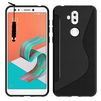 """Asus Zenfone 5 Lite ZC600KL 6.0"""" (2018): Accessoire Housse Etui Pochette Coque Silicone Gel motif S Line + mini Stylet - NOIR"""