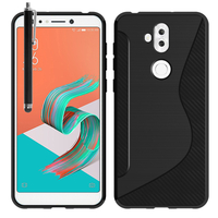 """Asus Zenfone 5 Lite ZC600KL 6.0"""" (2018): Accessoire Housse Etui Pochette Coque Silicone Gel motif S Line + Stylet - NOIR"""