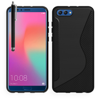 "Huawei Honor View 10 5.99""/ Honor V10: Accessoire Housse Etui Pochette Coque Silicone Gel motif S Line + Stylet - NOIR"