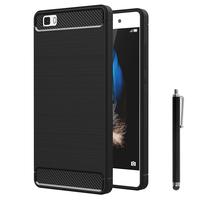 Huawei P8lite ALE-L21/ P8 lite ALE-L04 (non compatible Huawei P8): Coque Housse Silicone Souple en Fibre de Carbone Brossé motif TPU Case + Stylet - NOIR