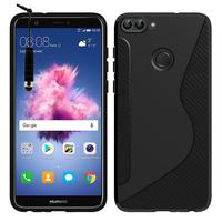 """Huawei P smart 5.65""""/ Enjoy 7S FIG-LX1/ LA1/ LX2/ LX3: Accessoire Housse Etui Pochette Coque Silicone Gel motif S Line + mini Stylet - NOIR"""
