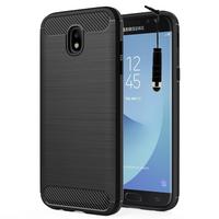 Samsung Galaxy J5 Pro (2017) J530Y/DS: Coque Housse Silicone Souple en Fibre de Carbone Brossé motif TPU Case + mini Stylet - NOIR