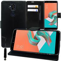 """Asus Zenfone 5 Lite ZC600KL 6.0"""" (2018): Accessoire Etui portefeuille Livre Housse Coque Pochette support vidéo cuir PU + mini Stylet - NOIR"""
