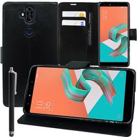 """Asus Zenfone 5 Lite ZC600KL 6.0"""" (2018): Accessoire Etui portefeuille Livre Housse Coque Pochette support vidéo cuir PU + Stylet - NOIR"""